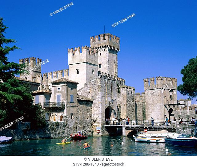 Architecture, Castle, Garda, Holiday, Italy, Europe, Lake, Lake garda, Landmark, Medieval, Scaligero, Sirmione, Tourism, Travel