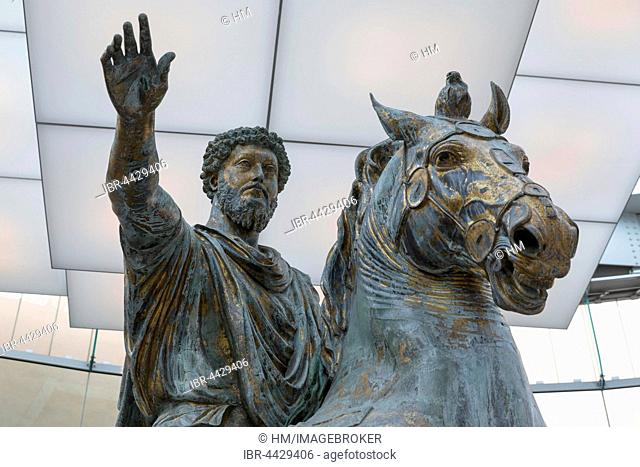Original equestrian statue, bronze statue, Emperor Marcus Aurelius, Capitoline Museums, Capitoline Hill, Rome, Lazio, Italy