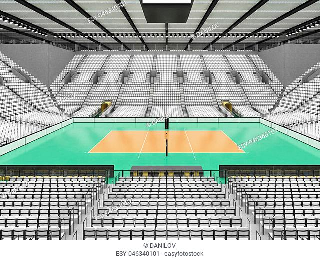 3D render of beautiful sports arena for volleyball with floodlights and white seats and VIP boxes for ten thousand people