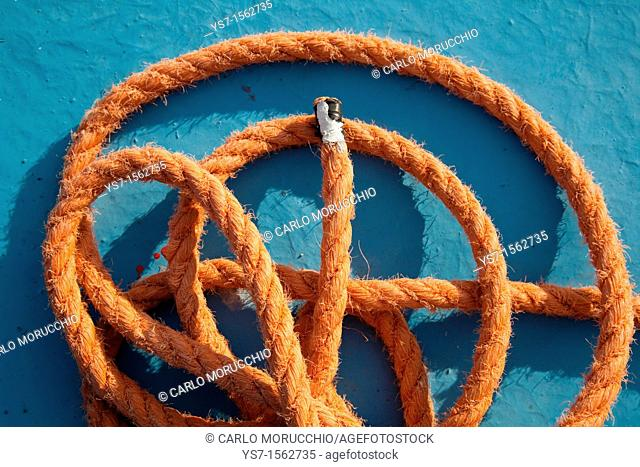 Ropes on the deck of a trawler in the north Adriatic sea, Chioggia, Venice province, Italy