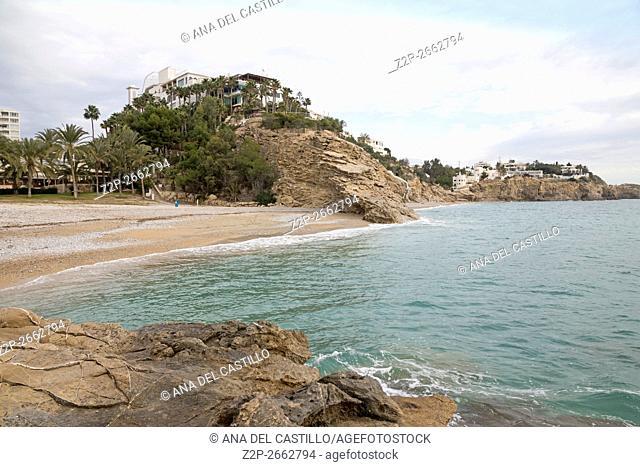 Mediterranean sea, Costa Blanca, Villajoyosa, Spain. Sea blue waters and pebbled coast