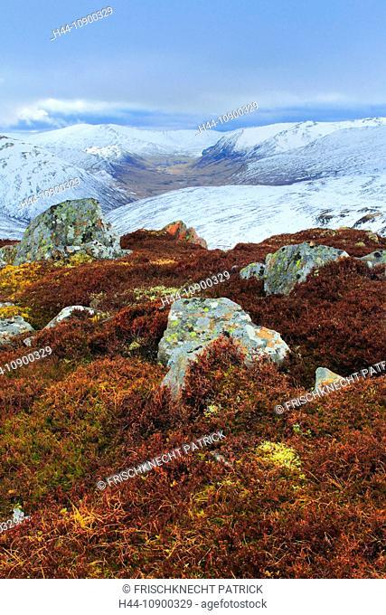 View, mountain, mountains, mountain panorama, Cairngorms, Erika, cliff, rock, cliff, mountains, Glenshee, moor, highlands, highland, living space, national park