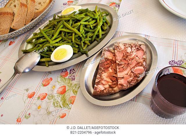 Green beans salad, pâté de tête and red wine, France