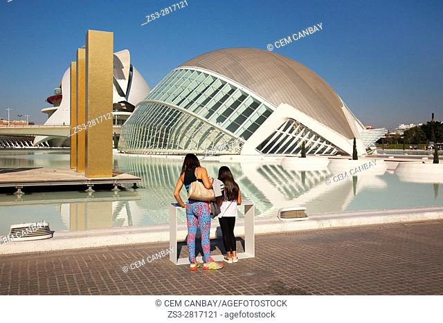Visitors in front of the Hemipheric and the Palau de les Arts, City of Arts and Sciences, Valencia, Spain, Europe