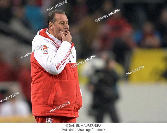 Stuttgart's coach Huub Stevens reacts during the Bundesliga soccer match between VfB Stuttgart and FCSchalke 04 at Mercedes-Benz arena in Stuttgart, Germany