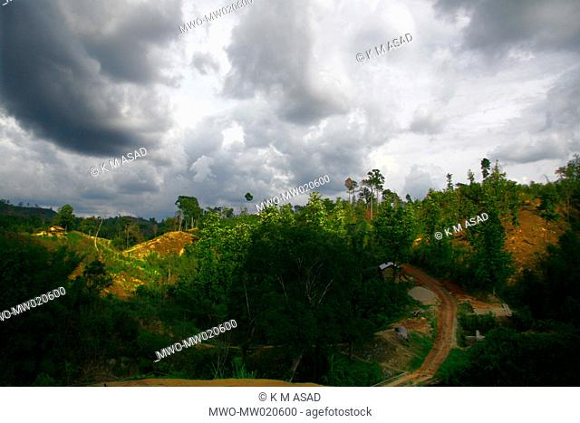 A landscape of Khagrachari, one of the hill districts under Chittagong division, in Bangladesh Locally known as 'Chengmi'