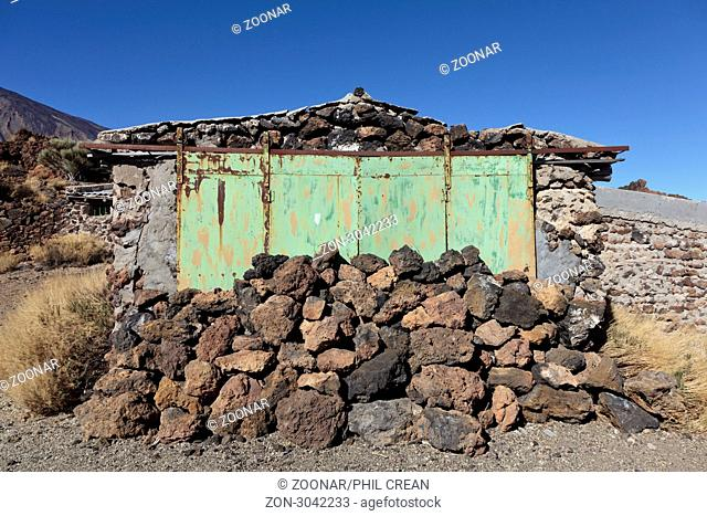 A blocked up door on an abandoned building at the old sanatorium in the teide national park tenerife canary islands spain