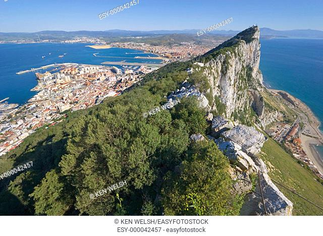 Gibraltar: top of the Rock with Spain in background