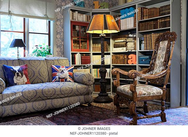 Home Library With Sofa And Chair