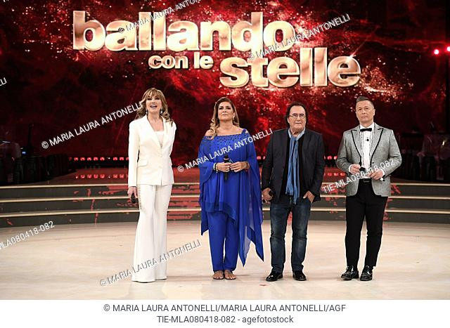 Milly Carlucci, Romina Power and Albano Carrisi in Al Bano, Paolo Belli during the tv show Dancing with the stars, Rome, ITALY-07-04-2018