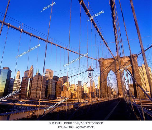 Brooklyn Bridge, Downtown Skyline, Manhattan, New York, USA