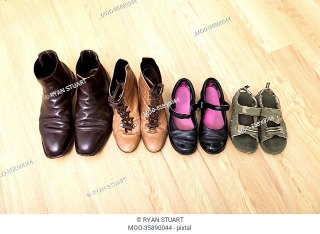Family shoes placed in a row on hardwood floor