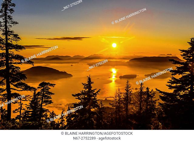 View from top of Harbor Mountain onto parts of Baranof and Kruzof Islands, near Sitka, Alaska USA