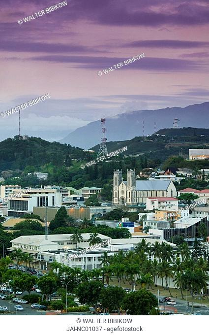 New Caledonia, Grande Terre Island, Noumea, Town view with Cathedrale St. Joseph