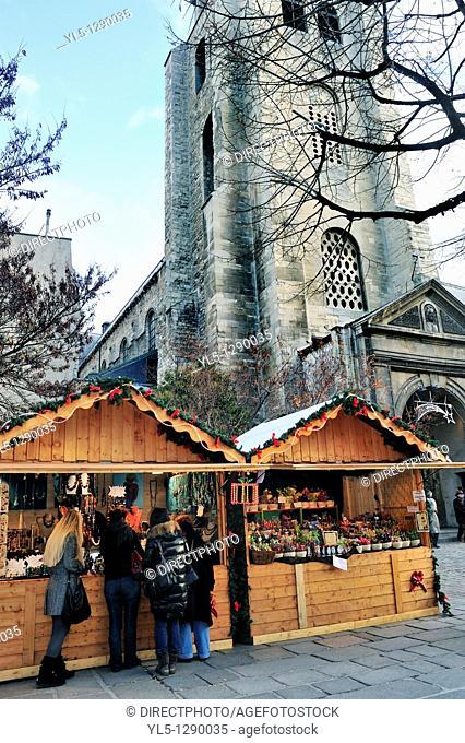 Paris, France, Christmas Shopping, Crowd at Traditional Christmas Market, Saint Germain des Prés Church