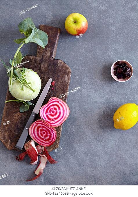 Beetroot (Tonda di Chiogga), kohlrabi, apple, dried sour cherries, and lemon