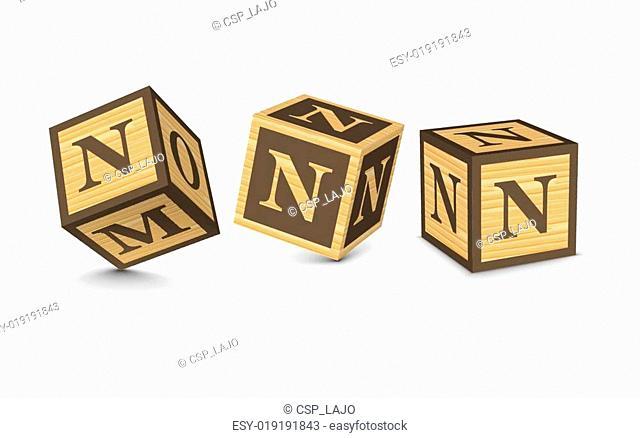 Vector letter N wooden blocks