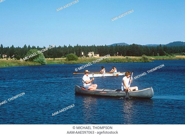 Canoeing at Sunriver Marina on Deschutes River, south of Bend, OR