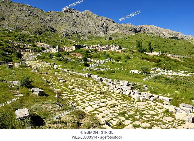 Turkey, Pisidia, antique mainstreet at the archaeological site of Sagalassos