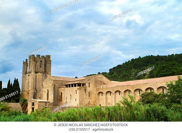The old benedictine abbey of Sainte-Marie de Lagrasse, in Lagrasse town, french village listed as one of the Most Beautiful Villages of France