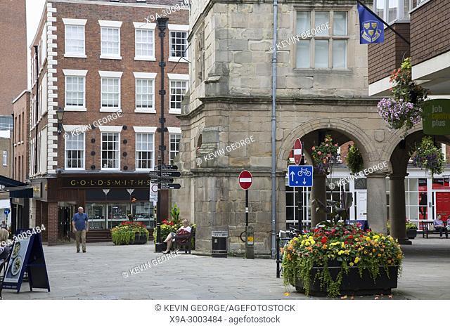 Shrewsbury Square and Old Market Hall, England; UK