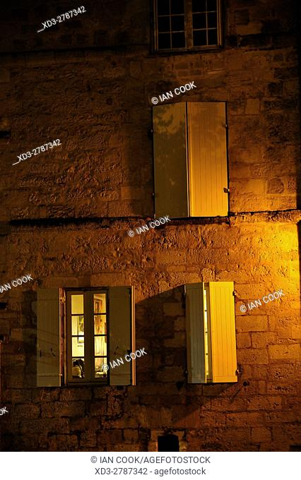 windows with shutters, Bergerac, Dordogne Department, Aquitaine, France