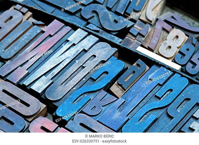 Big Collection of Vintage Printer Letter Blocks