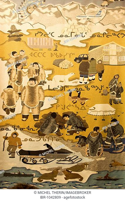 Tapestry depicting the life of the Inuit Eskimos, Museum of Iqaluit, Frobisher Bay, Baffin Island, Nunavut, Canada, North America