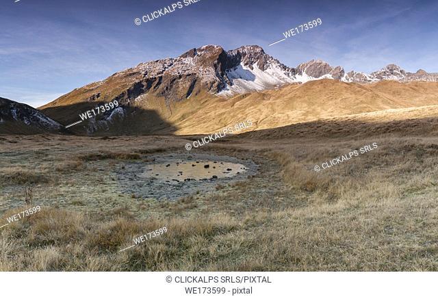 Frozen lake at the Colle del Piccolo San Bernardo, La Thuile, Aosta Valley, Italy