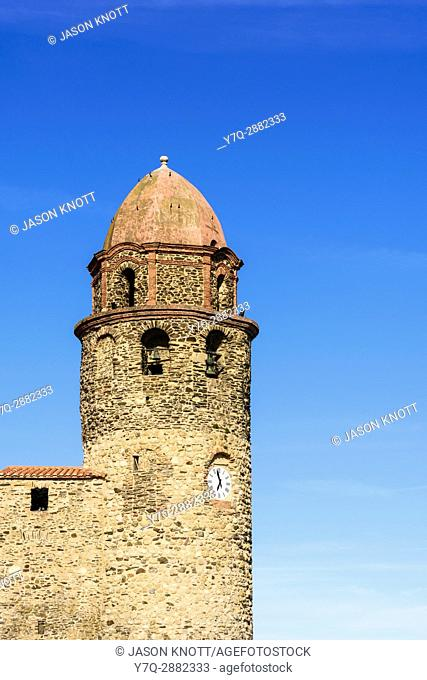 Detail of the bell tower of the Church of Notre Dame des Anges, Collioure, Côte Vermeille, Céret, Pyrénées-Orientales, Occitanie, France