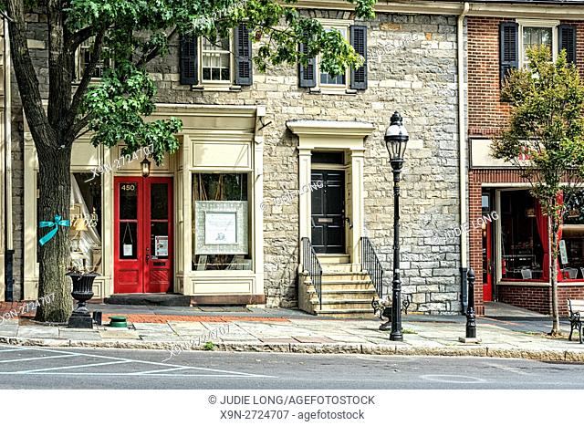 Bethlehem, PA, USA. Beautiful Old Pennsylvania Stone Building, Renovated and thriving in the Historic District