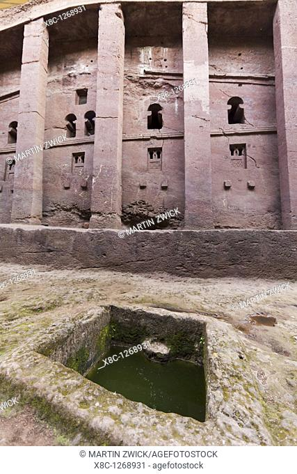 The rock-hewn churches of Lalibela in Ethiopia  The church Bet Medhane Alem, facade  Bet Medhane Alem is considered to be the largest rock-hewn church world...