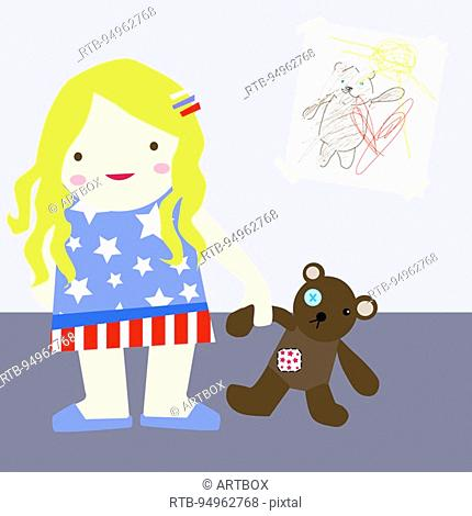 Girl holding a teddy bear