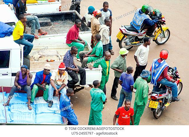"Aerial view of workers relaxing, KN 74 Street, """"Central Ville"""", CBD, Kigali, Rwanda"