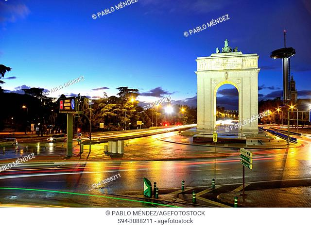Arch and lighthouse of Moncloa, Madrid, Spain