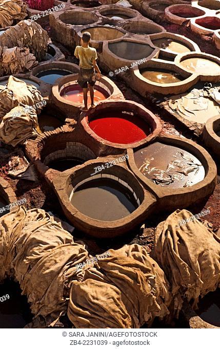 View of the Chouwara Tannery, Fez or Fes, Morocco, North Africa