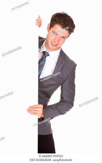 Man Presenting Blank Placard