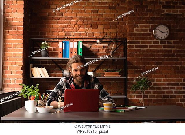 Man working at table