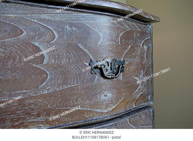 Detail shot of drawer pulls; California; USA