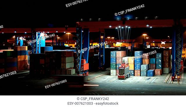 Commercial Container Port At Night
