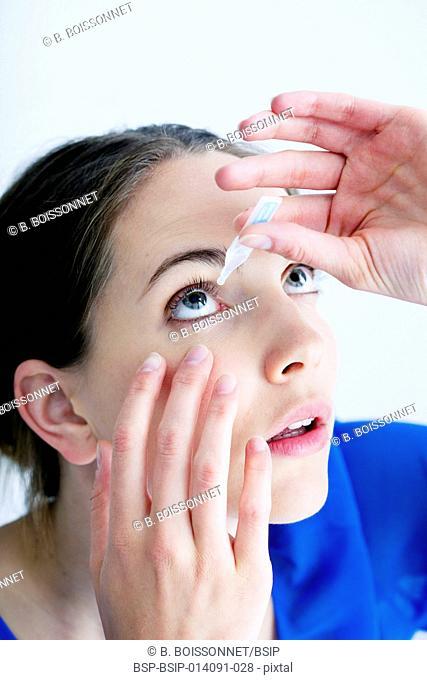 Woman using eyewash