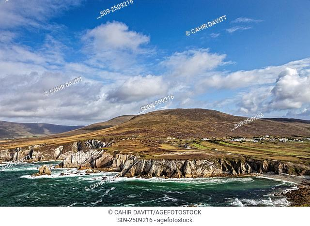 Looking out over Ashleain Bay, the Atlantic Ocean towards the hills of Knockmore, Achill Island, Co. Mayo, Ireland