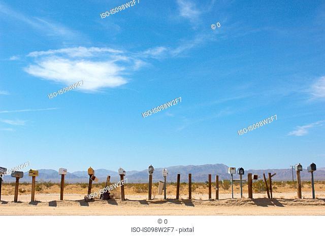 Mailboxes, Mojave Desert, California, USA