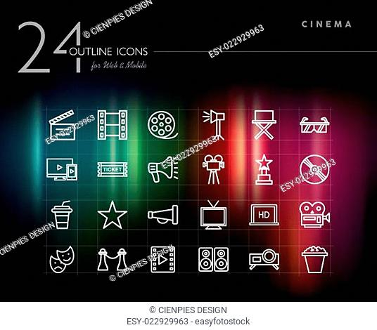 Cinema and movie outline icons set