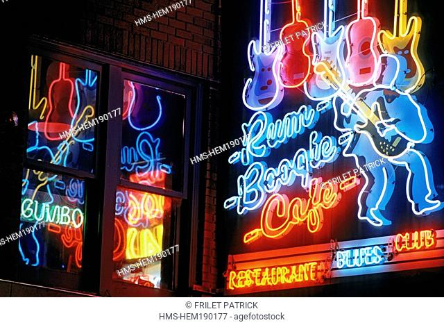 United States, Tennessee, Memphis, Beale Street, club 's neon sign