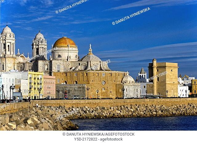 View for Cathedral from sea shore, Cadiz, Andalusia, Spain