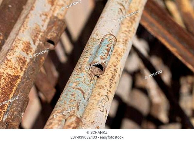 rusty pipes in the background