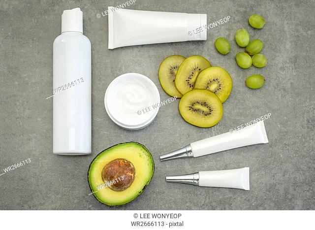 Set of cosmetics with fruits