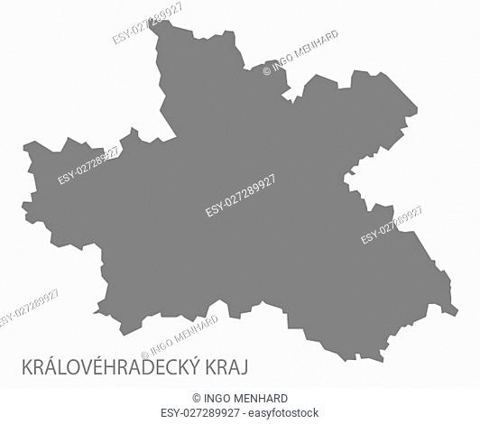 Kralovehradecky Kraj Czech Republic Map in grey