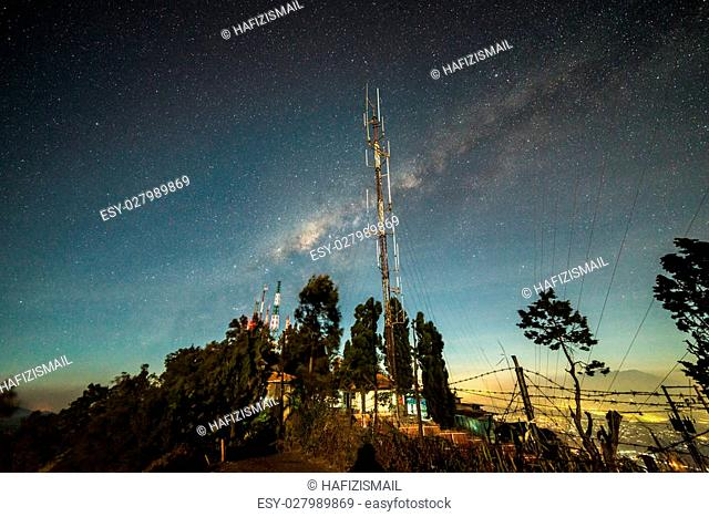 Milky way at telecommunication tower
